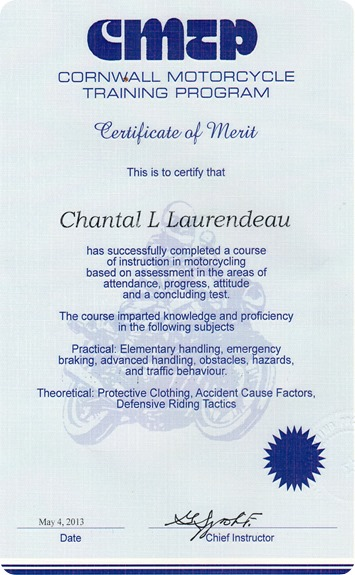 Chantal Motorcycle course001